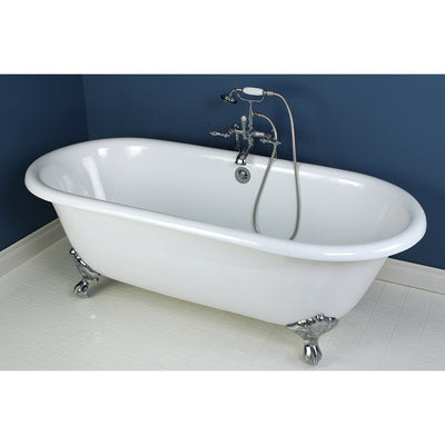 "66"" Large Cast Iron White Clawfoot Freestanding Bath Tub with Chrome Feet"