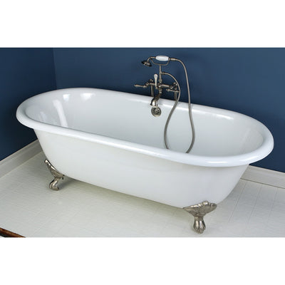 "66"" Large Cast Iron Double Ended White Claw Foot Bath Tub with Satin Nickel Feet"