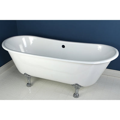 "67"" Large Cast Iron White Double Slipper Clawfoot Bathtub with Chrome Feet"