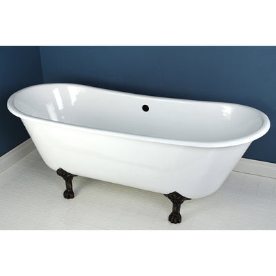 "67"" Large Cast Iron Double Slipper Claw foot Bathtub with Oil Rubbed Bronze Feet"