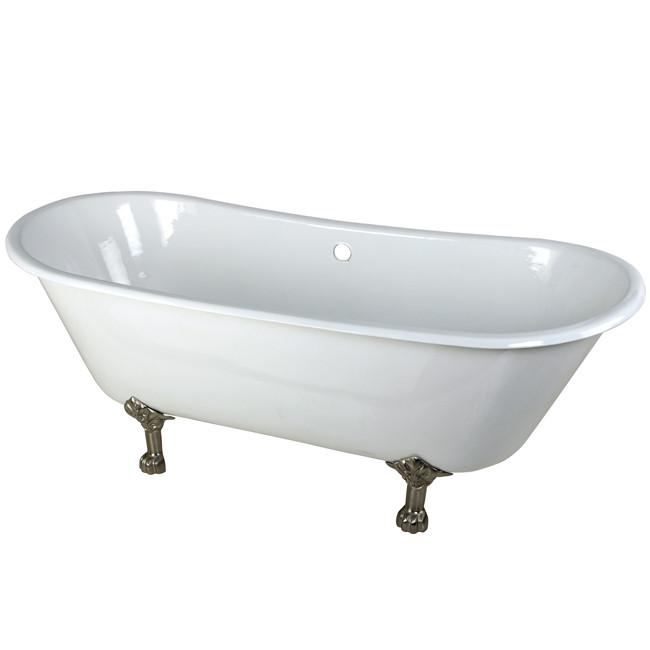 "67"" Large Cast Iron White Double Slipper Clawfoot Bath Tub w/ Satin Nickel Feet"