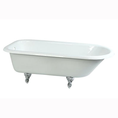 "67"" Large Cast Iron Roll Top Freestanding Clawfoot Bathtub w/ Chrome Feet"