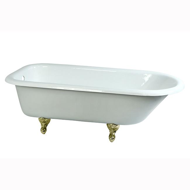 "67"" Large Cast Iron Roll Top Freestanding Clawfoot Tub with Polished Brass Feet"
