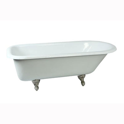 "67"" Large Cast Iron Roll Top Free standing Clawfoot Tub with Satin Nickel Feet"