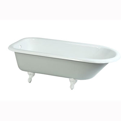 "67"" Large Cast Iron Freestanding Roll Top Clawfoot Bath Tub with White Feet"