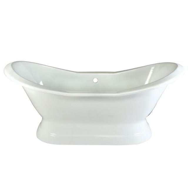 "72"" Large Cast Iron White Double Slipper Pedestal Freestanding Bath Tub"