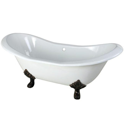 "72"" Large Cast Iron Double Slipper Clawfoot Tub with Oil Rubbed Bronze Feet"