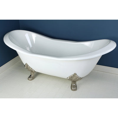 "72"" Large Cast Iron White Double Slipper Clawfoot Bath Tub w/ Satin Nickel Feet"