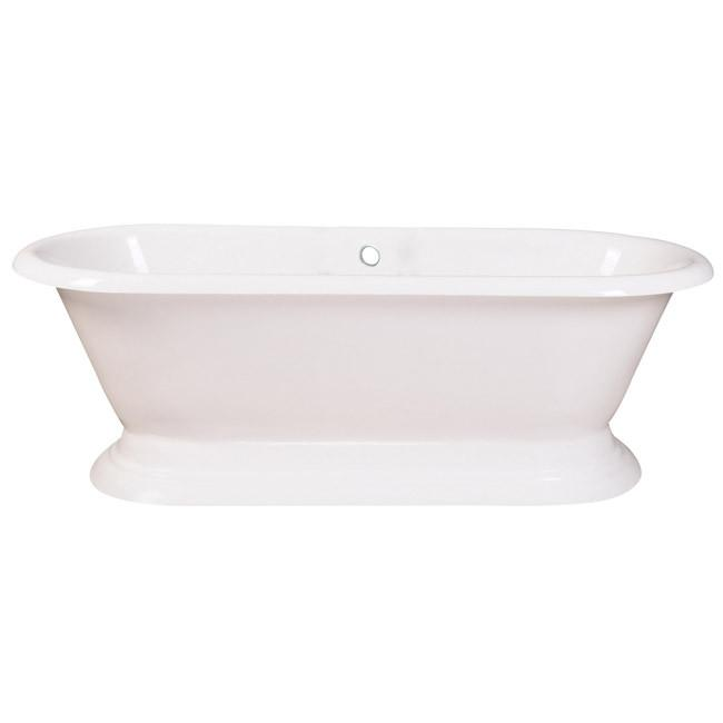 "72"" Large Cast Iron Double Ended White Pedestal Freestanding Bath Tub"