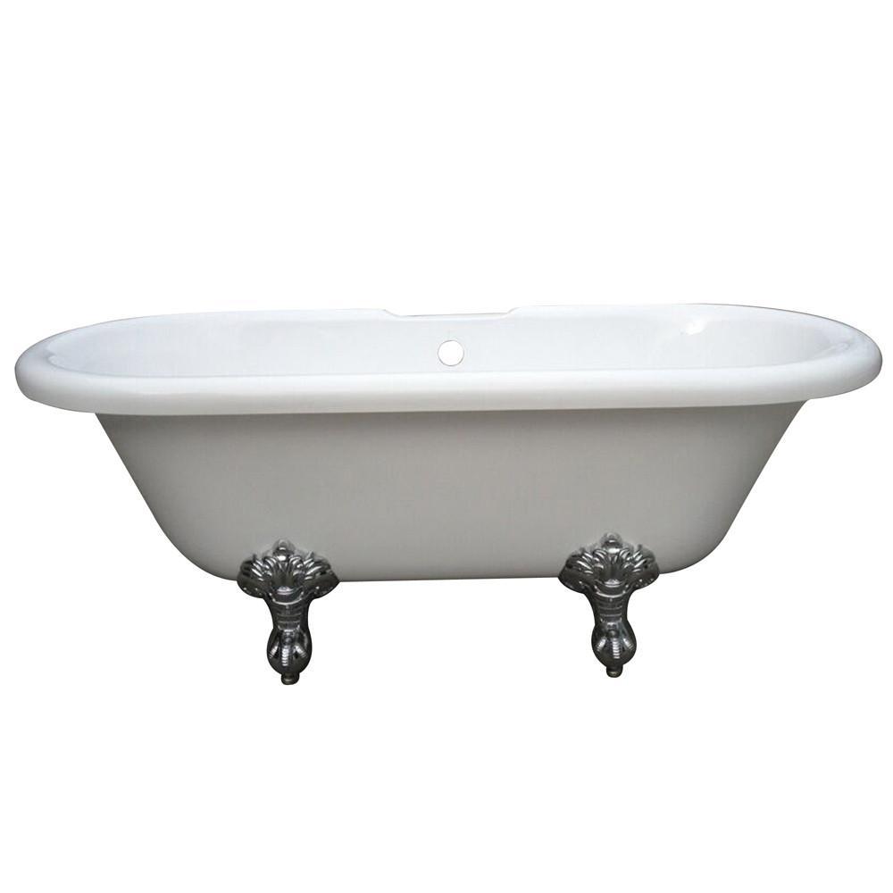 "67"" Double Ended White Acrylic Freestanding Clawfoot Tub with Chrome Lion Feet"