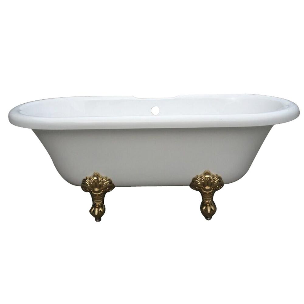 "67"" Double Ended White Acrylic Clawfoot Tub with Polished Brass Lion Feet"