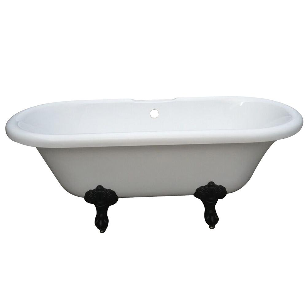 "67"" Double Ended White Acrylic Clawfoot Tub with Oil Rubbed Bronze Lion Feet"