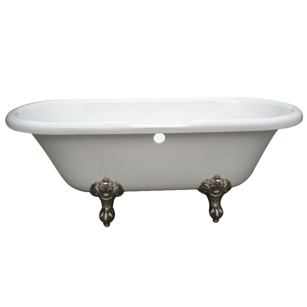 "67"" Double Ended White Acrylic Clawfoot Tub with Satin Nickel Lion Feet"