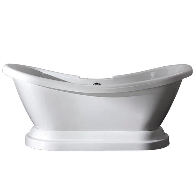 "69"" Contemporary Pedestal White Double Slipper Acrylic Freestanding Bath Tub"