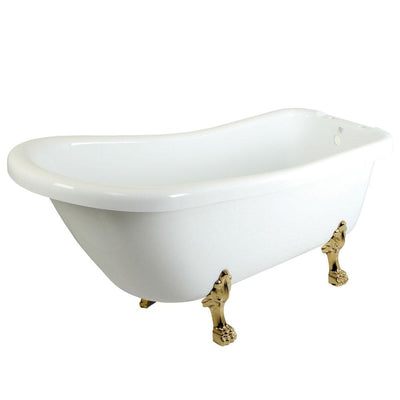 "69"" Large White Slipper Acrylic Clawfoot Bath Tub with Polished Brass Lion Feet"