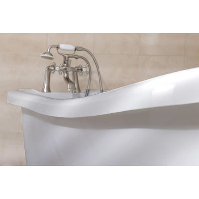 "69"" Large White Slipper Acrylic Clawfoot Bath Tub with Satin Nickel Lion Feet"