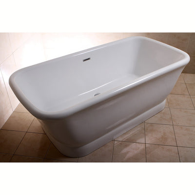 "71"" Contemporary Pedestal Double Ended White Acrylic Freestanding Bath Tub"