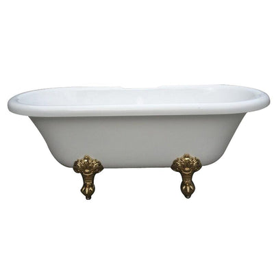 "67"" Double Ended Acrylic Freestanding Clawfoot Tub w/ Polished Brass Lion Feet"