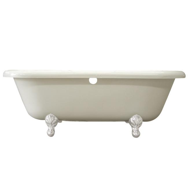 "67"" Large Double Ended Acrylic Freestanding Clawfoot Bath Tub w/ White Lion Feet"