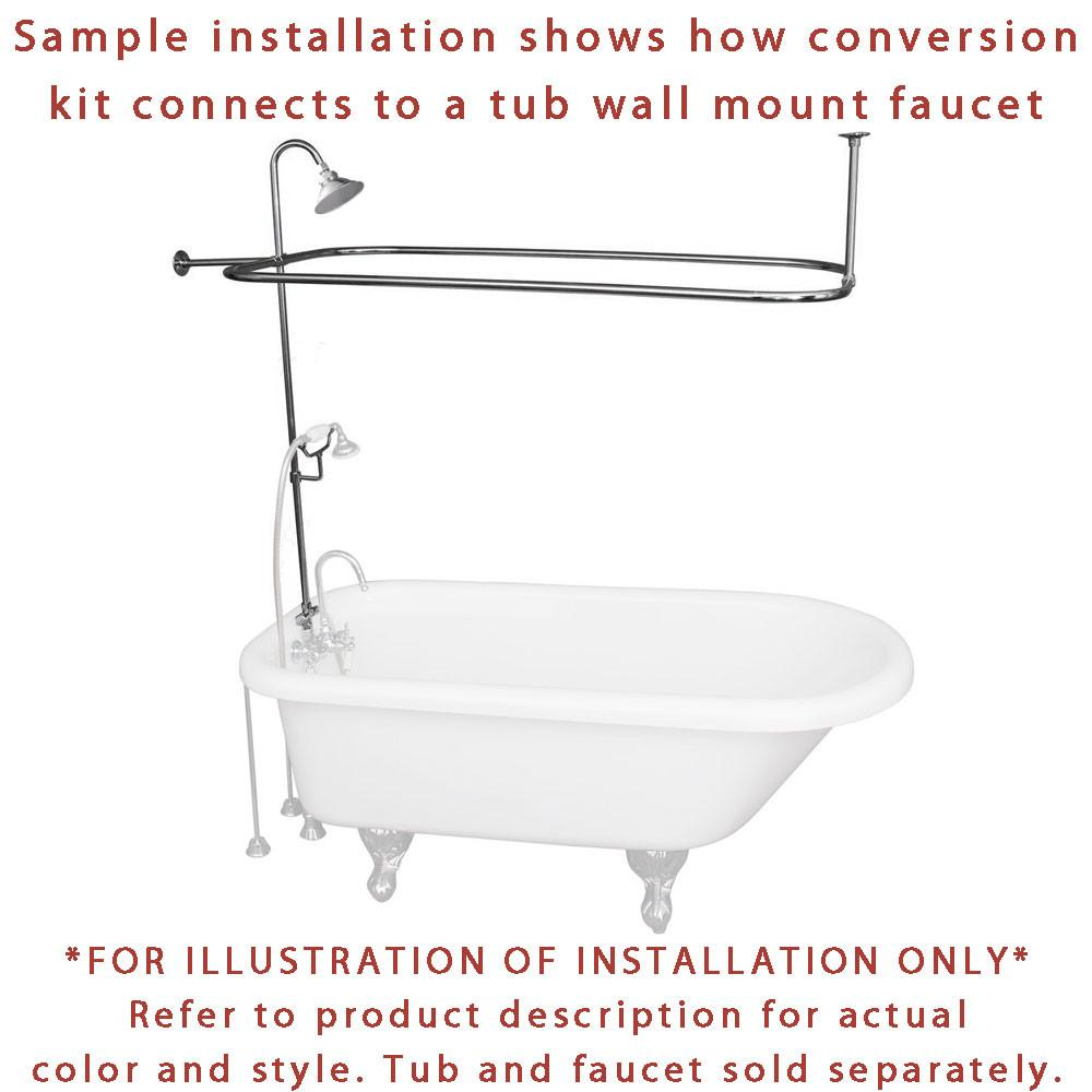 Polished Brass Clawfoot Tub Shower Conversion Kit with Enclosure ...