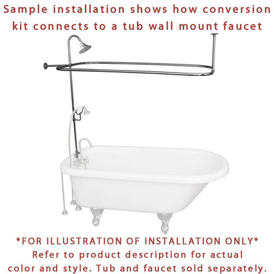 Satin Nickel Clawfoot Tub Shower Conversion Kit with Enclosure ...