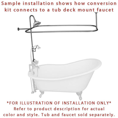 Oil Rubbed Bronze Clawfoot Tub Shower Conversion Kit With Enclosure