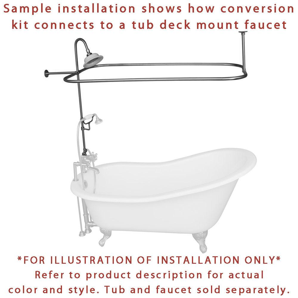 Chrome Clawfoot Tub Shower Conversion Kit with Enclosure Curtain Rod ...