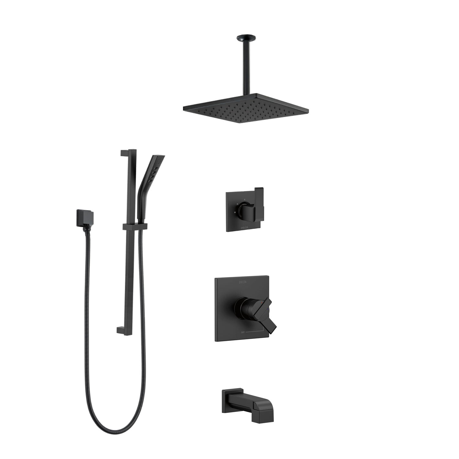 "Custom Delta Matte Black Finish Ara Tub and Shower System with Hand Shower and 11-3/4"" Rain Showerhead CUSTOM727V"
