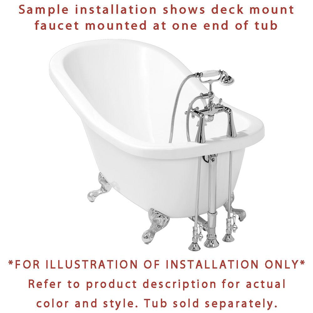 Chrome Deck Mount Clawfoot Bathtub Faucet Package Supply Lines