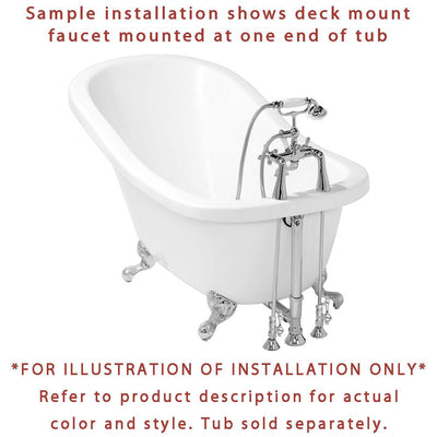 Satin Nickel Deck Mount Clawfoot Bathtub Faucet Package Supply Lines & Drain CC93T8system