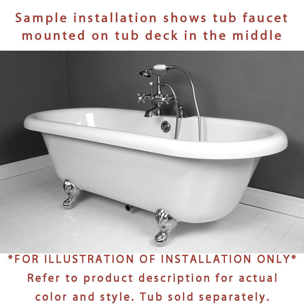 Oil Rubbed Bronze Deck Mount Clawfoot Tub Faucet Package w Drain