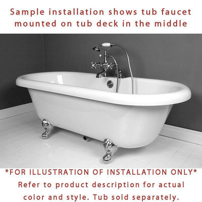 Satin Nickel Deck Mount Clawfoot Tub Faucet w hand shower w Drain Supplies Stops CC203T8system
