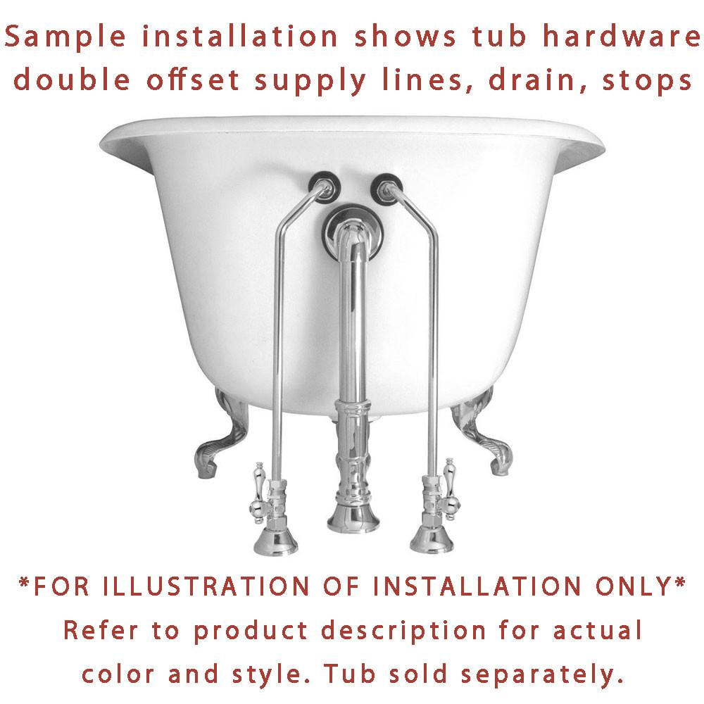 Chrome Clawfoot Tub Hardware Kit Drain, Double Offset Supply lines ...