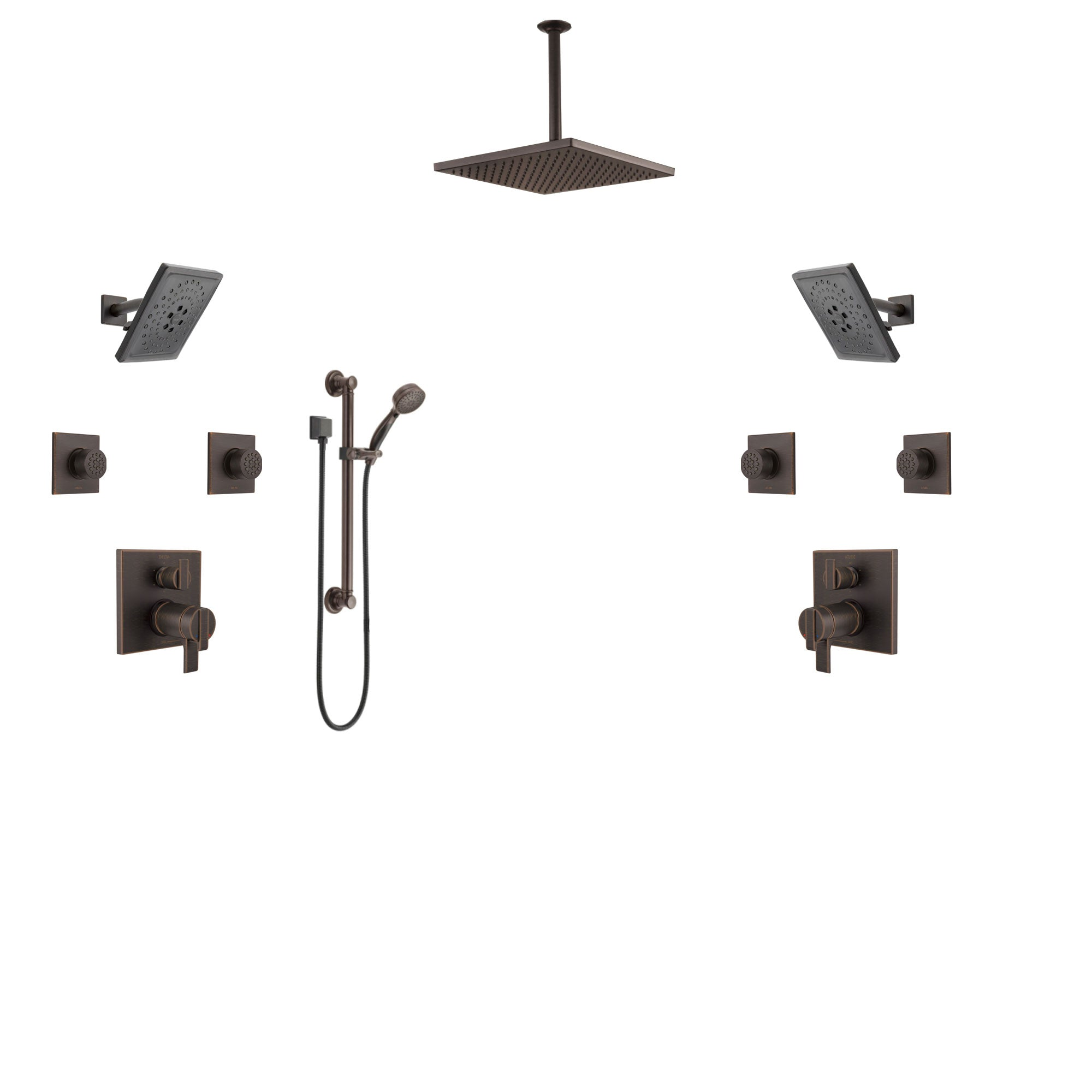 Custom Delta Ara Venetian Bronze Dual Shower System with All Valves Included CUSTOM388V
