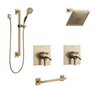 Square Grab Bar Custom Delta Zura Champagne Bronze Shower System with Separate Controls for Hand Shower and Showerhead Custom389CZ