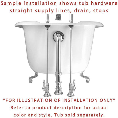 Chrome Clawfoot Tub Hardware Kit Drain, Straight Supply lines, Lever Stops