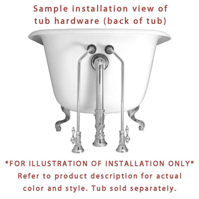 Polished Brass Wall Mount Clawfoot Tub Faucet Package w Drain Supplies Stops CC3001T2system