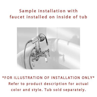 Polished Brass Wall Mount Clawfoot Tub Faucet Package w Drain Supplies Stops CC3T2system