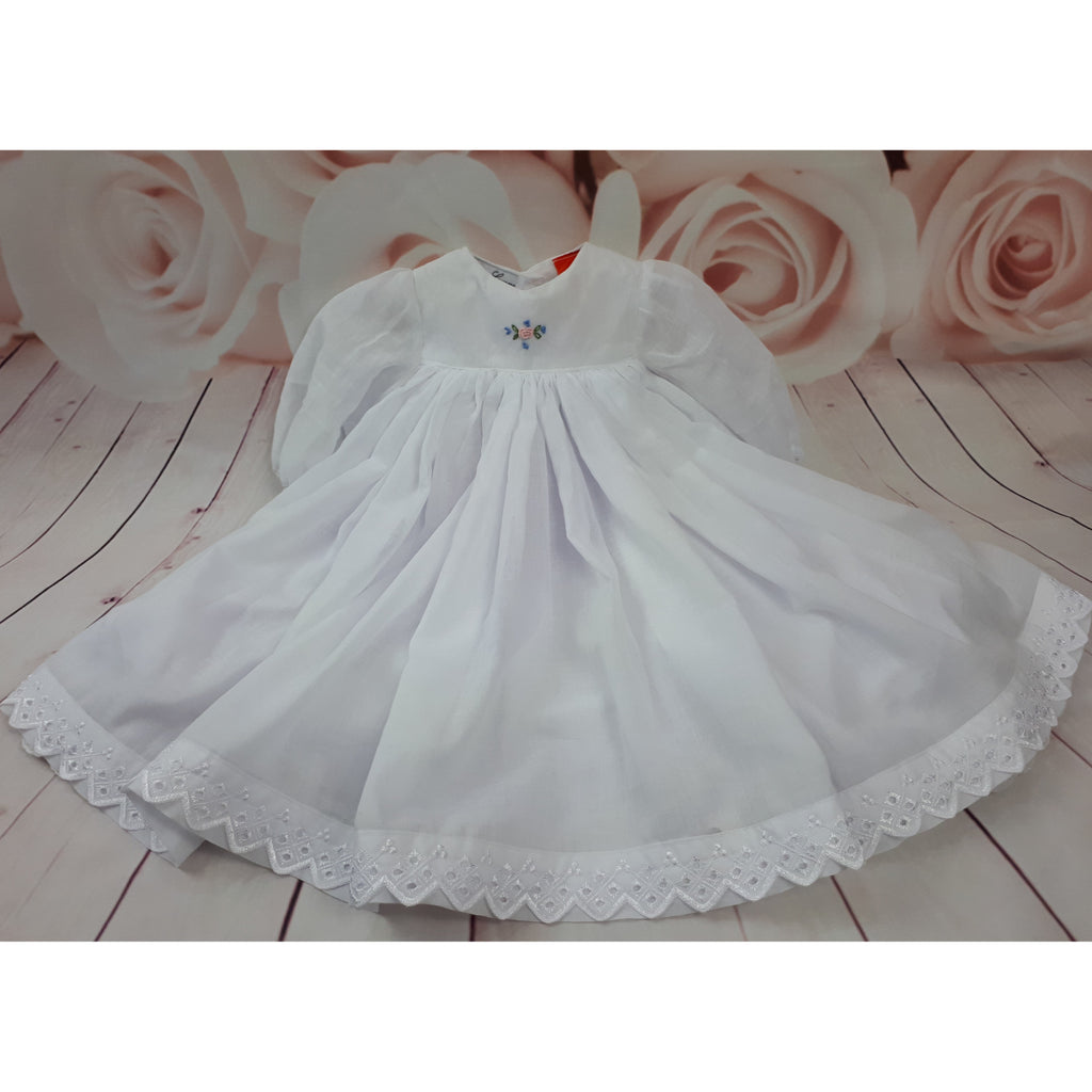 white baby gown