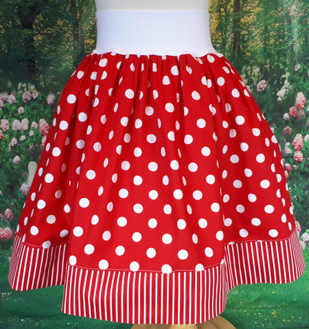Girls red and white polka-dot skirt