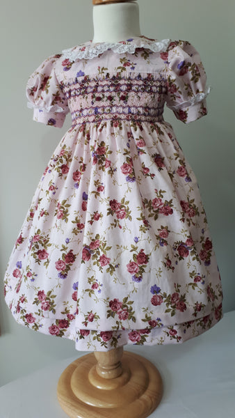 Little girls hand smocked dress
