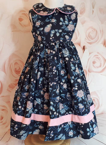 Girls navy printed summer dress