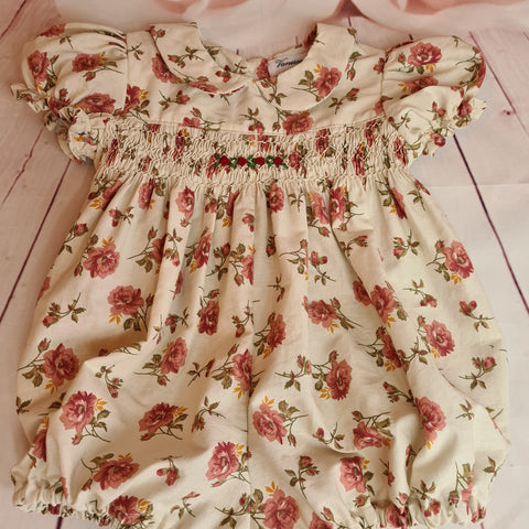 Baby girls smocked romper