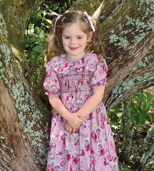 floral smocked dress for flowergirls