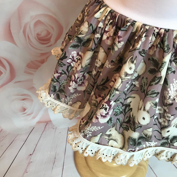 Brown Bunny and Squirrel Skirt with Heavy White Lace