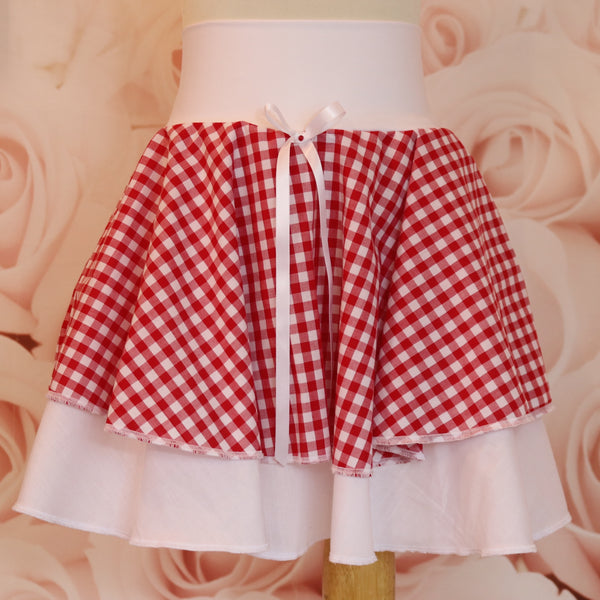 girls red and white gingham double layer skirt