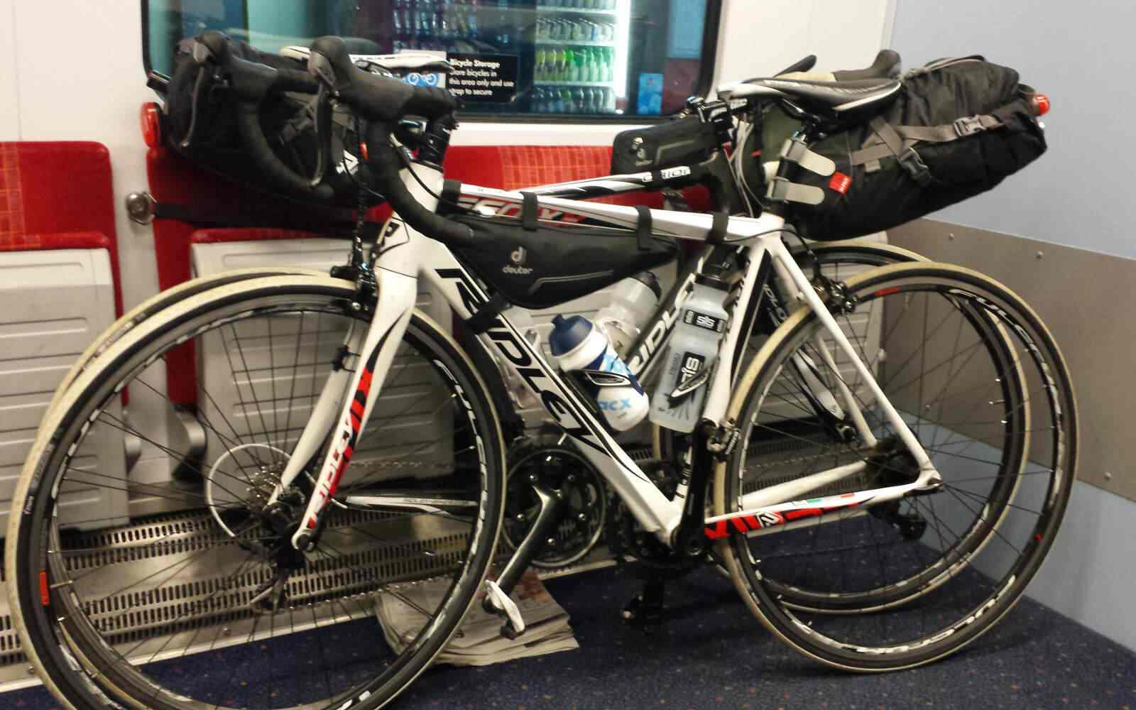 Bikes on the train bikepacking