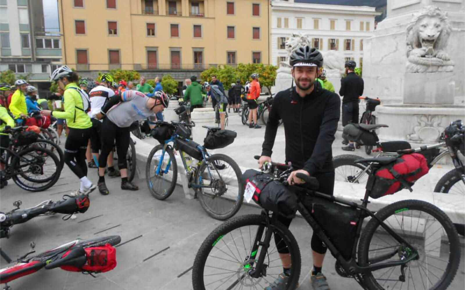 Giacomo on bike at start line Tuscany Trail