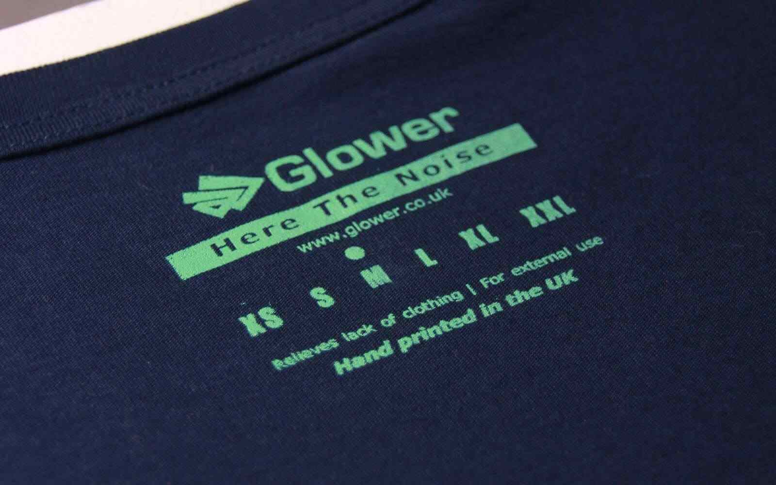 Glower printed neck label hand printed in UK