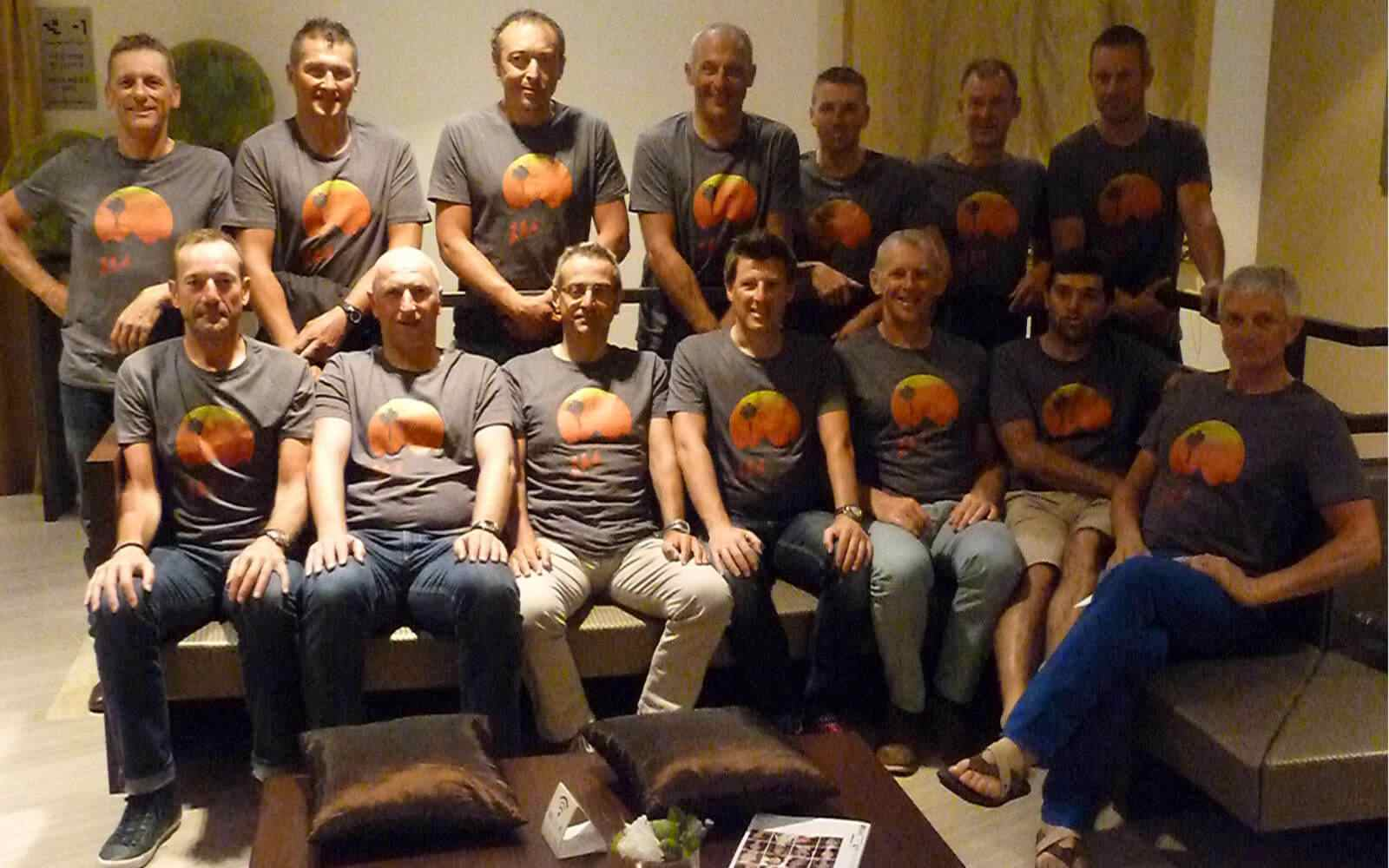 Group of cyclists wearing bespoke printed tshirt